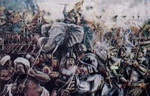 Sultan Ahmad defending Malacca from the Portuguese on his elephant